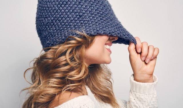 wearing a hat